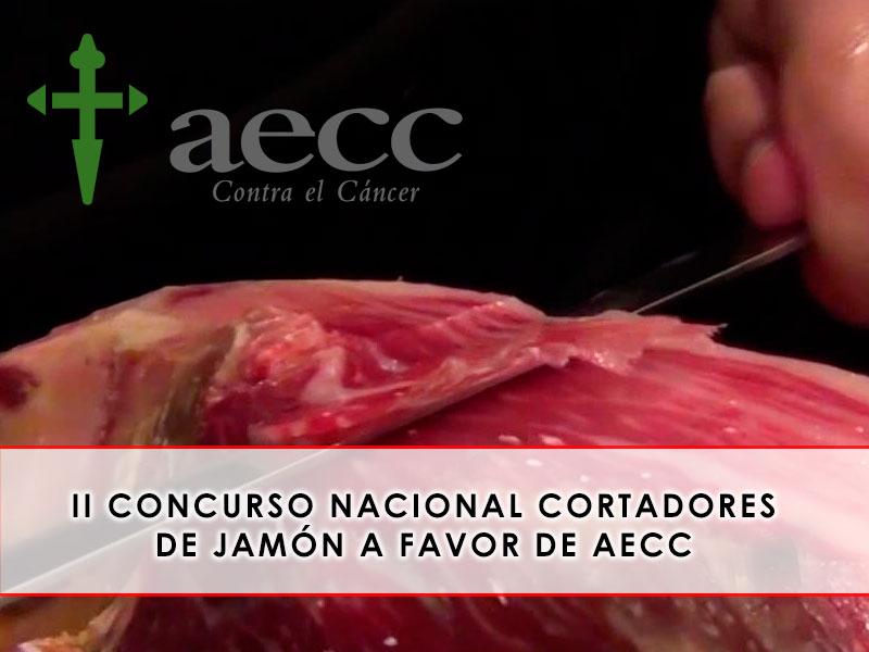 Concurso cortadores de jamón, a favor de AECC, en la alberca, salamanca